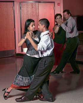 Students practice their moves during an Argentine tango class session in Los Gatos.